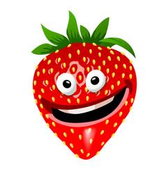 strawberry cartoon character vector image