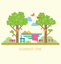 Summer landscape with a hammock vector