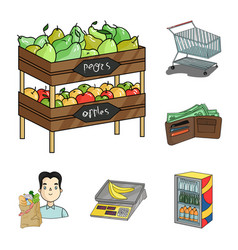 supermarket and equipment cartoon icons in set vector image