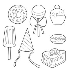 Sweets set cartoon lineart isolated vector