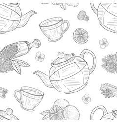 tea elements seamless pattern cafe restaurant vector image