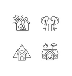 Temporary safe residence linear icons set vector