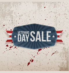 Veterans day sale greeting banner and ribbon vector
