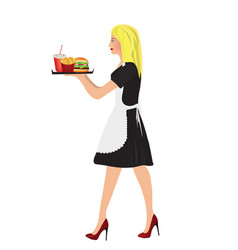 waitress with fast food vector image