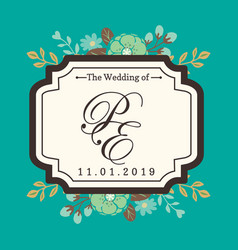 Wedding badge pe image vector