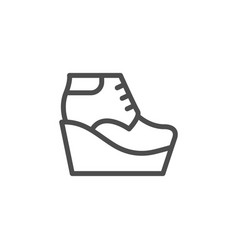 Wedge boot line icon vector