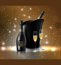 wineglass with black wine bottles of champagne in vector image