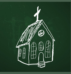 wooden church sketch vector image