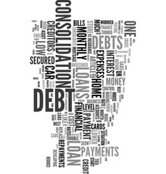 worried about debts text word cloud concept vector image