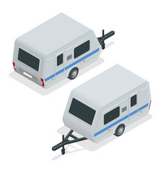 isometric camping trailer on road travel concept vector image