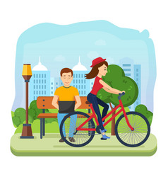 man running on freelance rest girl rides bicycle vector image
