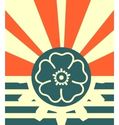 sun rays backdrop with half gear and flower icon vector image