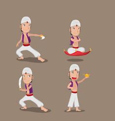 aladdin persian character cartoon set vector image vector image