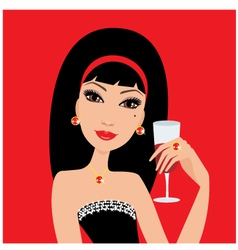 beautiful woman with a wine glass vector image vector image