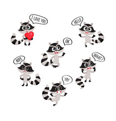 cute raccoon character showing different emotions vector image
