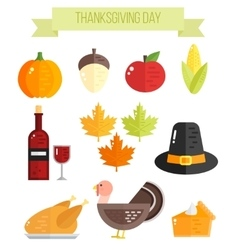 Set of colorful flat thanksgiving elements vector image