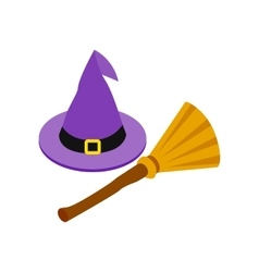 Witch hat and broom isometric 3d icon vector image