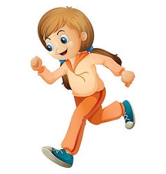 A girl jogging with her orange outfit vector image vector image
