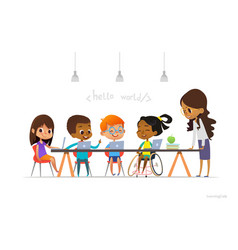 disabled girl in wheelchair and other children vector image vector image