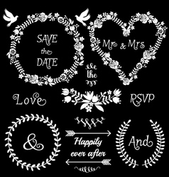 floral wedding frames set vector image vector image