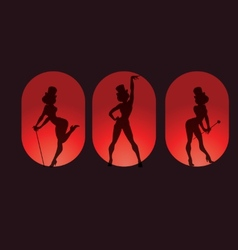poster design with silhouette cabaret burlesque vector image vector image