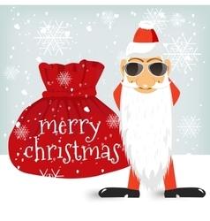Santa Claus standing near Christmas bag vector image vector image