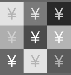 yen sign grayscale version of popart vector image vector image