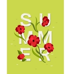 Abstract lettering with word Summer and red vector image vector image