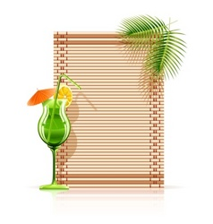 bamboo mat palm cocktail vector image