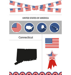 map of connecticut set of flat design icons vector image vector image