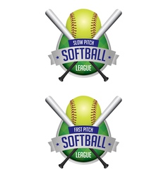 softball league emblems vector image vector image