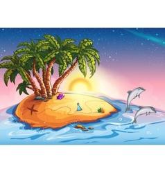 Treasure Island in the ocean and vector image vector image