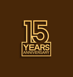 15 years anniversary design line style vector