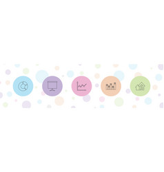 5 chart icons vector