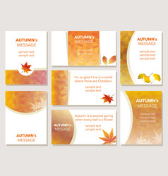 a set of autumn message cards vector image