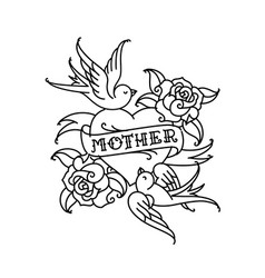 a tattoo with inscription mom a heart and vector image