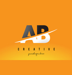 Ab a b letter modern logo design with yellow vector