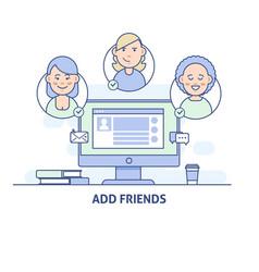Add friends social network social media icon vector