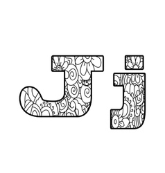 Anti coloring book alphabet the letter J vector image