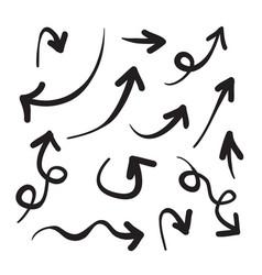 arrows icons hand drawn editable set vector image