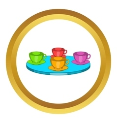 Attraction cups of tea spinning icon vector