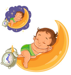 Baby in a diaper is sleeping on the moon vector