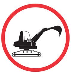 backhoe on work road symbol sign and traffic symb vector image