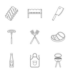 Bbq party icons set outline style vector