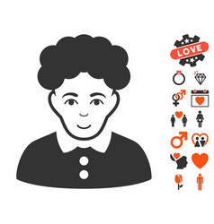 Brunette woman icon with dating bonus vector