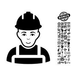 Builder Flat Icon With Bonus vector image