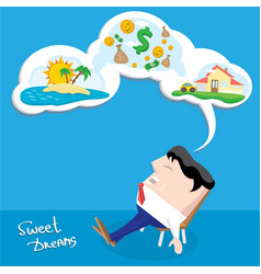 Business man dreaming cartoon vector