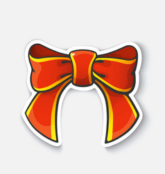 cartoon sticker with bow-knot ribbon vector image
