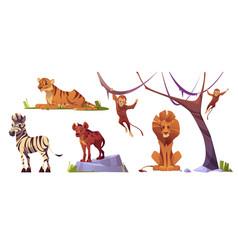 Cartoon wild animals tiger monkeys lion hyena vector