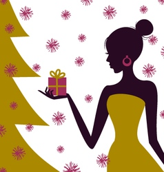 Christmas gift girl vector